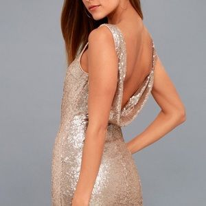 beautiful backless rose gold sequin dress